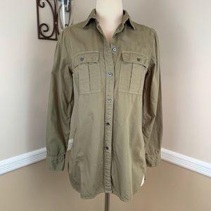 J Crew Olive Green Fatigue Button Down Shirt Top